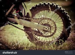 finance motocross bikes rear wheel motocross bike on street stock photo 105693260