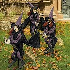 set of 3 witches on stakes halloween yard decor outdoor prop lawn