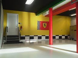 amazing concrete home garage design ideas duckdo basement decoration white floor color garage after remodel combined with yellow wall painted interior and red concrete interior design