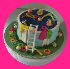 pan cake topper pool party cake topper kit fondant handmade edible