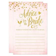 bridal shower words of wisdom cards advice for the cards blush pink gold confetti