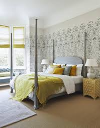 Yellow Feature Wall Bedroom Modern Wallpaper Texture Bedroom Living Room Ideas Bq House