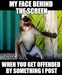Sarcastic Face Meme - my face behind the screen when you get offended by something i