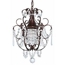 crystal mini chandelier pendant light in bronze finish ceiling