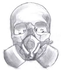 drawn gas mask skull pencil and in color drawn gas mask skull
