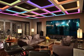 design spotlight ceilings custom builder rgb color panels can read as single or multicolored the colors can be altered to the rhythm of music lending a playful feeling to this multipurpose room