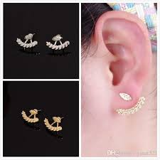 ear wraps 2018 leaf back ear cuffs stud earring silver gold filled piercing
