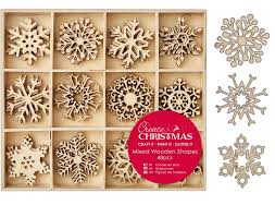 48 small 3 8cm wooden snowflake shapes embellishments for