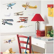 Vintage Airplane Wall Stickers And Borders For Kids Rooms - Kids rooms decals