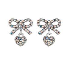 diamond earrings nz sparkling bow sweetheart 925 silver needle colorful diamond