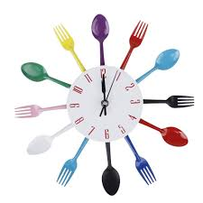 amazon com modern unique spoon fork clock cutlery kitchen wall