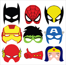 sample superhero mask 6 documents psd pdf vector