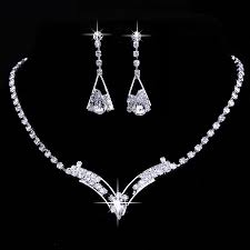 bridal jewelry bridal jewelry sets necklace and earrings pearls rhinestones