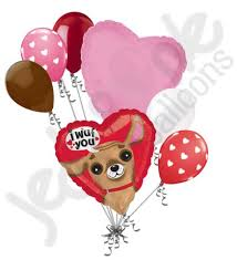 heart balloon bouquet i wuf you puppy happy s day heart balloon bouquet