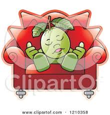 Sleeping In A Chair Clipart Of A Black And White Guava Mascot Sleeping In A Chair