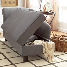 furniture grey cotton storage chaise for minimalist family room decor