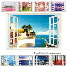 online buy wholesale sea decoration from china sea decoration 9 styles 3020 removable beach sea 3d window scenery wall sticker home decor decals mural decal