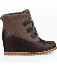 lyst ugg uptown emalie leather wedge boots in black lyst ugg emalie leather wedge boots in black