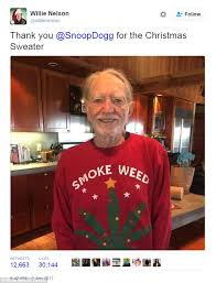 willie nelson fan page willie nelson receives ultimate christmas sweater from snoop dogg