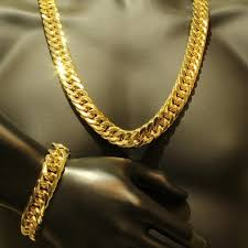 mens gold bracelet links images Mens thick tight link yellow gold finish miami cuban link chain jpeg