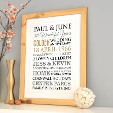 personalised golden wedding anniversary art by a type of design
