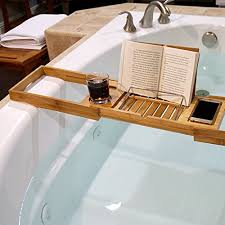 Wine Glass Holder For Bathtub Welland Bathtub Caddy Tray With Extending Sides Bamboo Reading