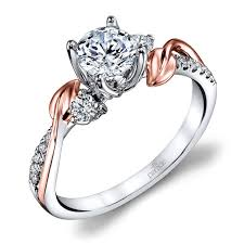 new stone rings images New leaves three stone diamond engagement ring in white and rose jpg