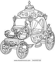 cinderella fairy tale pumpkin carriage coloring stock vector