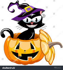 black cat wearing witch hat inside stock vector 328672697