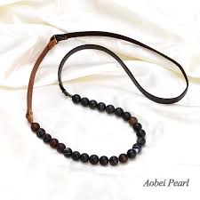 beaded cord necklace images Aobei pearl handmade necklace made of 12 mm round natural agate jpg