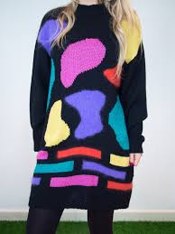 80s sweater dress 80 s abstract jumper dress vintage at house of bricks