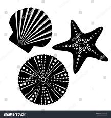 sea life silhouettes set starfish scallop stock vector 139769104