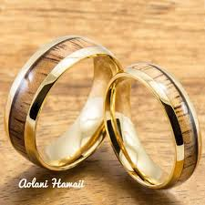 stainless steel wedding ring sets stainless steel wedding rings set with hawaiian koa wood 6mm