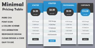 Css Responsive Table by Minimal Pricing Table Responsive By Tech Designer Codecanyon