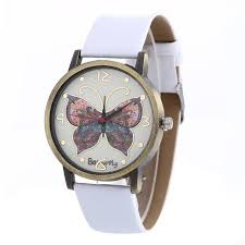 s creative butterfly pattern quartz leather