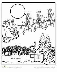 color santa flight worksheet education