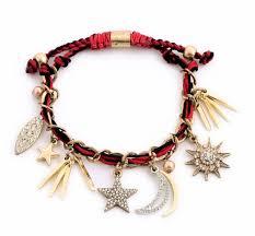 black bracelet with charm images Cool red black braided star moon sun spike charm bracelet jpg