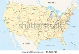 map of the us us interstate highway map stock vector 153148745