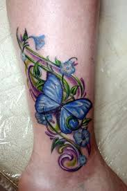 collection of 25 butterfly and flowers vine tattoos