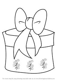learn draw christmas giftbox ribbon christmas step