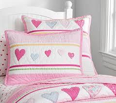Girls Quilted Bedding by Heart Quilt Pottery Barn Kids