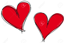 drawn vector heart pencil and in color drawn vector heart