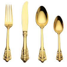 lekoch 4pc set luxury golden cutlery set gold plated stainless