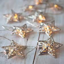 Star String Lights Indoor by 10 Silver Star Battery Operated Led Fairy Lights By Lights4fun