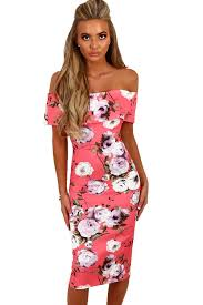 cali chic juniors dress pink multi floral bardot bodycon