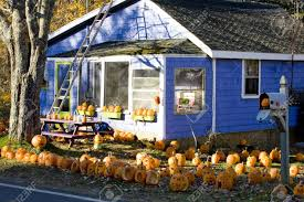 Halloween Decorations For House Decorated House For Halloween Maine Usa Stock Photo Picture And