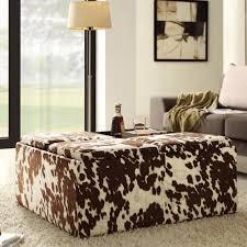 Noble House Chelsea Storage Ottoman Tribecca Home Decor Brown White Cow Hide Storage Ottoman Walmart Com