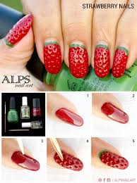 strawberry nails by alpsnailart nail art gallery step by step