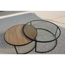 Table De Salon Industrielle by Table Basse Ronde Double Ferscott Industriel D 110 X H 42 1