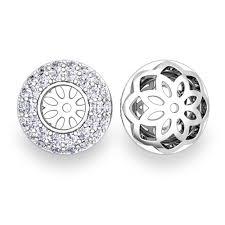 earring jackets for studs custom pave set diamond earring jackets in 14k 18k gold 5mm
